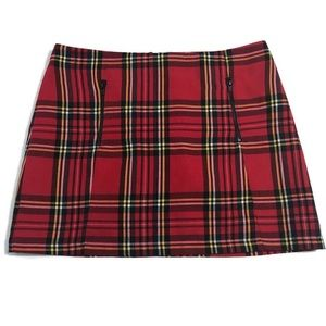 TOPSHOP Tartan Plaid Mini Skirt with Zip Pockets